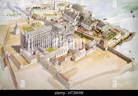 Jewel Tower, Westminster, c1510, (c1990-2010). Artists: Terry Ball, King Edward III. - Stock Photo