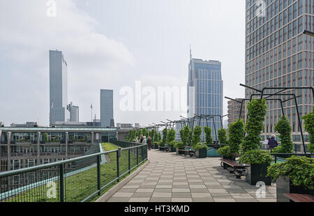 Rotterdam, Netherlands – May 26, 2016: on the roof of the Groothandelsgebouw. - Stock Photo