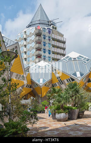 Rotterdam, Netherlands – May 26, 2016: Cube houses are a set of innovative houses. - Stock Photo