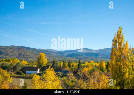 Autumn landscape. Sierra de Guadarrama National Park, Rascafria, Madrid province, Spain. - Stock Photo