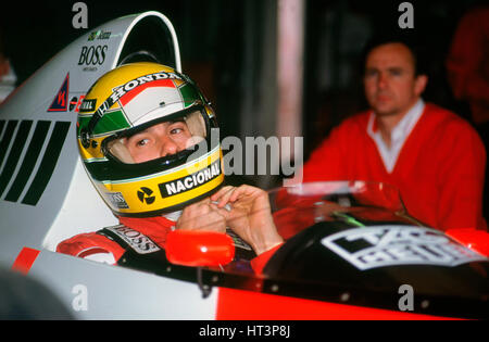 Ayrton Senna in the McLaren MP4-5 at 1989 British Grand Prix, Silverstone Artist: Unknown. - Stock Photo