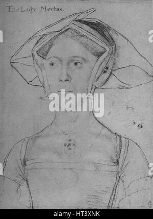 'Joan, Lady Meutas', c1536-1543 (1945). Artist: Hans Holbein the Younger. - Stock Photo