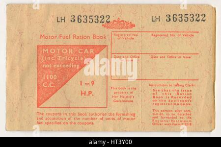'Motor Fuel Ration Book', c1973. Artist: Unknown. - Stock Photo