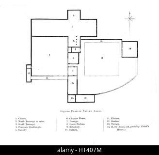 'Ground Plan of Netley Abbey', 1897. Artist: Alexander Francis Lydon. - Stock Photo