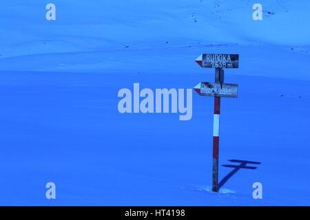 Direction sign on the way to Rudoka (Maja e Njeriut), the highest peak of Kosovo in Sar Mountains / Sharr Mountains - Stock Photo