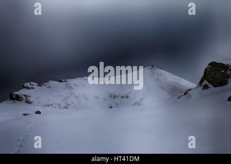 Rudoka / Maja e Njeriut the highest peak of Kosovo on the border with Macedonia in winter - Stock Photo