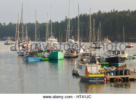 0902-1014  Lobster boats and sailboats in Northeast Harbor, Mt. Desert Island, Maine. - Stock Photo