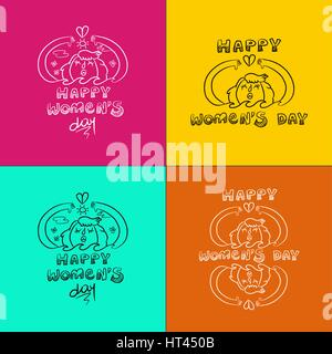 Happy international 8 march womens day celebration doodle set. Collection of concept illustration, girl protecting - Stock Photo