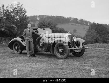 Charles Mortimer with his Barker-bodied 2-seater Bentley, c1930s Artist: Bill Brunell. - Stock Photo