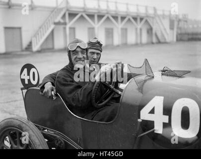 BS Marshall in his Aston Martin at the JCC 200 Mile Race, Brooklands, Surrey, 1921. Artist: Bill Brunell. - Stock Photo