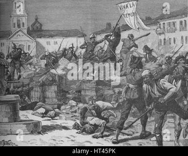 'Street Fighting in Malaga', c1890. Artist: William Barnes Wollen. - Stock Photo