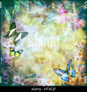 Vintage floral background with Australian butterflies. Photo montage on colourful aged canvas textured background. - Stock Photo