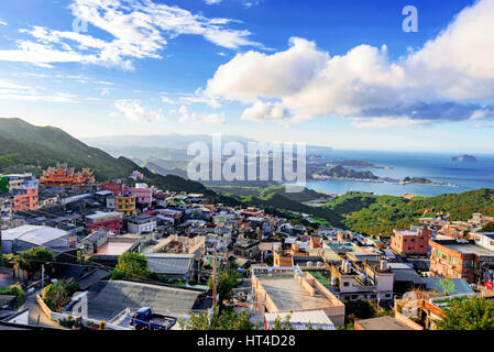 View of Jiufen village on a sunny day in Taiwan - Stock Photo