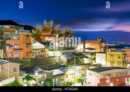 Night view of Jiufen architecture in Taiwan - Stock Photo