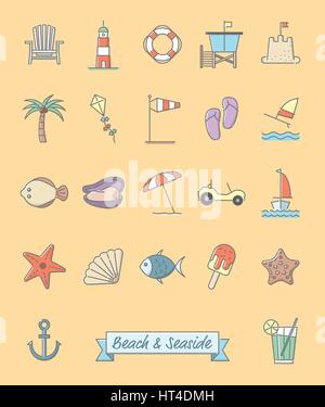 Collection of 22 beach and seaside related symbols, gray outline and pastel color fill - Stock Photo