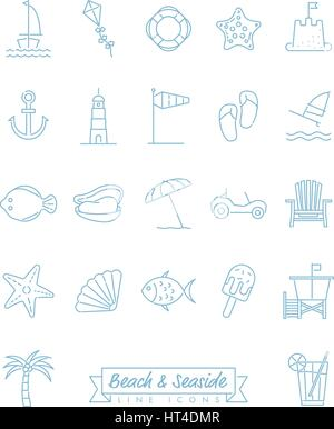 Collection of 22 light blue beach and seaside related symbols - Stock Photo