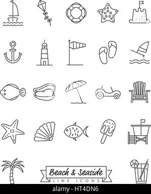 Collection of 22 beach and seaside related symbols - Stock Photo