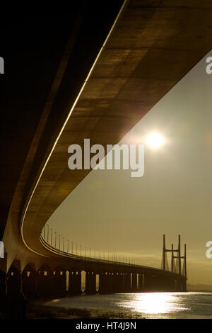 Early morning light illuminates the Second Severn Crossing, United Kingdom - Stock Photo