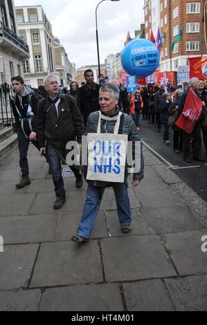 National protest in London, against further cuts to the NHS. - Stock Photo