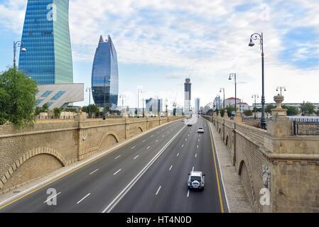 Baku, Azerbaijan - September 11, 2016: View of Geydar Aliyev Avenue. Baku is the largest city on the Caspian Sea - Stock Photo