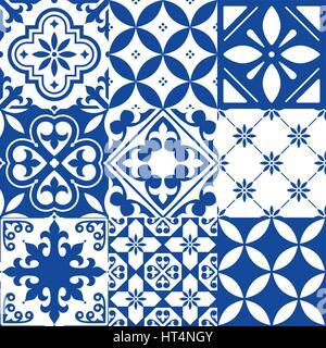 Spanish tiles, Moroccan tiles design, seamless navy blue pattern - Stock Photo