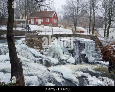 A promenade through Oslo Norway along the Akerselva river in wintertime, scenic beauty in an urban setting - Stock Photo