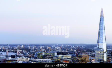 Looking towards South East London from high up, with view of the Shard and Tower Bridge, London, UK - Stock Photo
