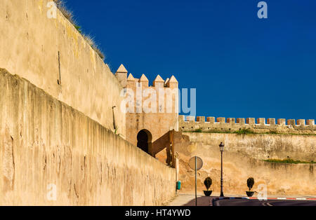 Walls of the Royal Palace of Meknes, Morocco - Stock Photo