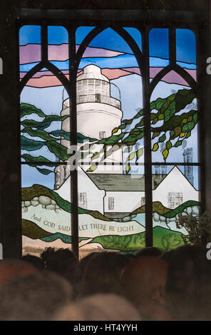 And God said let there be light - stained glass window in St Agnes' Church at St Agnes, Isles of Scilly, Scillies, - Stock Photo