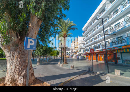 Sant Antoni de Portmany, Ibiza, November 6th, 2013.  Parking available for disabled & wheelchair bound people says - Stock Photo