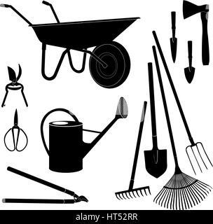 Gardening tools isolated. Garden equipment silhouette set. - Stock Photo