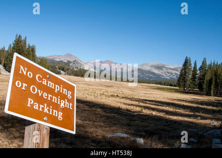 A view of Tuolomne Meadows in autumn. Tuolomne Meadows is on Highway 120 in the Sierra Nevada Mountains of Yosemite - Stock Photo