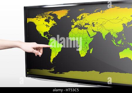 Hand showing blank world map on LED TV screen - Stock Photo