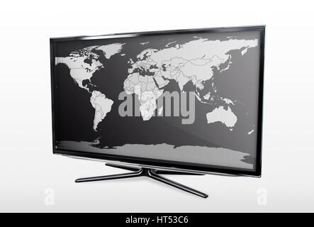 Modern LED TV screen with blank world map - Stock Photo