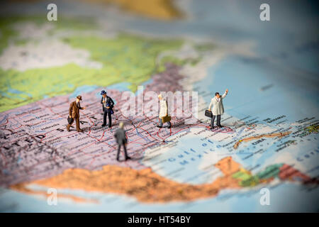 Miniature Business People On Top Of Us Map Business Concept Color Tone Tuned