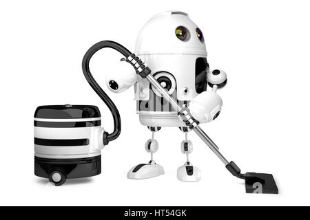 Cute Robot with vacuum cleaner. Isolated. 3D illustration. Contains clipping path. - Stock Photo