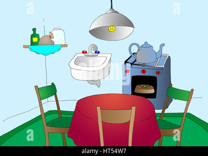 Cartoon Kitchen. Digital Painting Background, Illustration in primitive cartoon style character. - Stock Photo