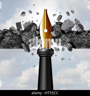 Power of the pen concept as a writing instrument with a golden nib breaking through a cement wall as a blogging - Stock Photo