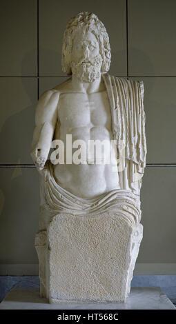 Roman Art. Zeus. King of the gods. Statue. 2nd century. Istanbul Archaeology Museums. Turkey. - Stock Photo