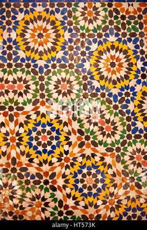 Berber Zellige decorative tiles inside the Riad of the Kasbah