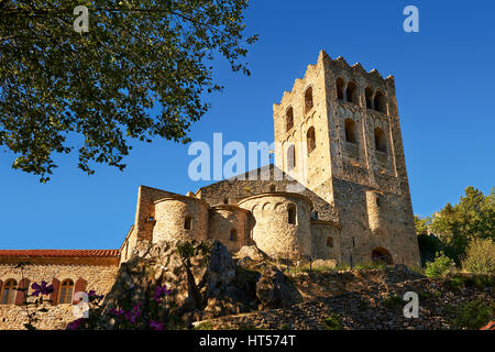 The First or Lombard Romanesque style Abbey of Saint Martin-du-Canigou in the Pyrenees, Orientales department, France. - Stock Photo