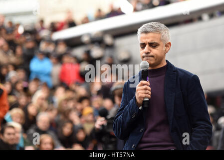 Sadiq Khan speaking at the March 4 Women on International Womens Day, organised by CARE International and held in - Stock Photo