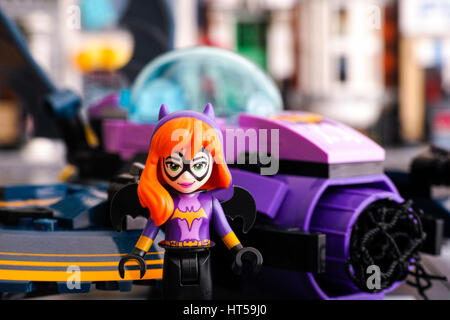 Tambov, Russian Federation - March 04, 2017 Lego DC Super Hero Girls world. Batgirl mini-doll figure against the - Stock Photo