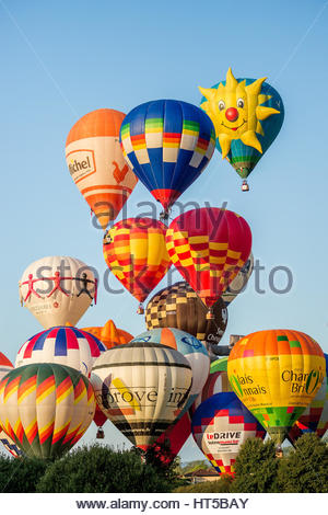 hot air balloons taking-off in early morning - Stock Photo