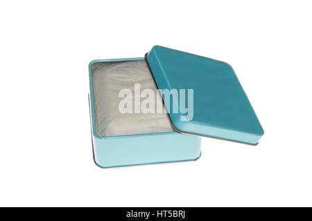 blue metal box with soap isolated over white background - Stock Photo