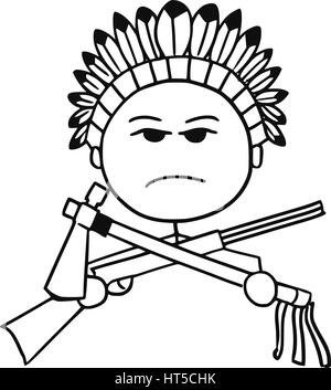 Cartoon vector stickman of native Indian tribal chieftain with rifle and tomahawk. - Stock Photo