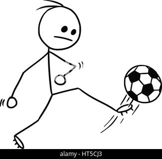 Cartoon vector stickman soccer football player kicking the ball, shot on goal or pass - Stock Photo