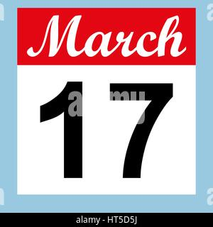March 17 St. Patrick's Day on a calendar - Stock Photo