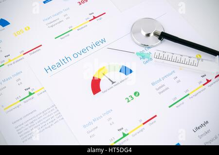 Health condition score report. Stethoscope on medical background. - Stock Photo