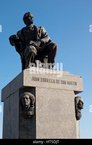 Statue to Juan Zorrilla de San Martin, the country's poet laureate.Monteideo,Uruguay - Stock Photo